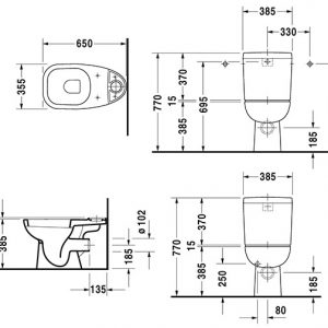Duravit D-code Close Coupled Toilet with Seat And Side Supply Cistern – Hygiene Glaze