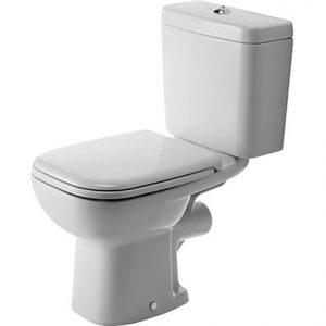 Duravit D-code Close Coupled Toilet with Soft Close Seat And Side Supply Cistern – Hygiene Glaze
