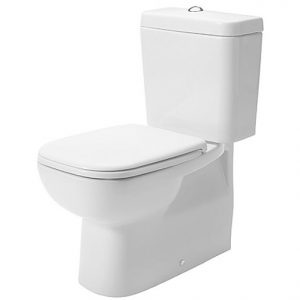 Duravit D Code 560mm Floor Standing Close Coupled Toilet With Soft Close Seat And Dual Flush Cistern – Hygiene Glaze
