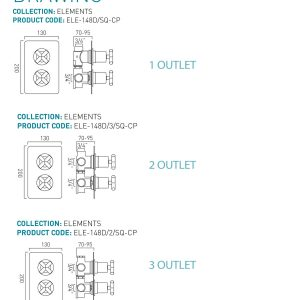 Vado Elements 3 Outlet 2 Handle Square Thermostatic Shower Valve Chrome