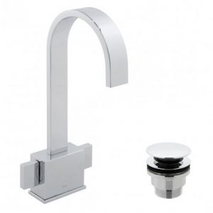 Vado Geo 2 Handle Mono Basin Mixer Tap With Universal Waste Chrome
