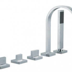 Vado Geo 5 Hole Bath Shower Mixer Tap Chrome