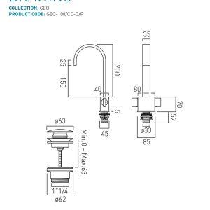 Vado Geo Slimline Mono Basin Mixer Tap With Universal Waste Chrome