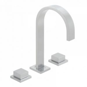 Vado Geo Deck Mounted Basin Mixer Tap With Square Handles Chrome
