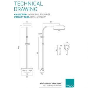 Vado Aquablade Thermostatic Shower Column Chrome/White