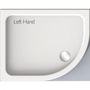 Kudos Kstone Anti-Slip Offset Quadrant Shower Tray LH 900mm X 800mm High Gloss
