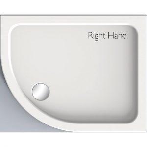 Kudos Kstone Offset Quadrant Shower Tray RH 900mm X 800mm High Gloss