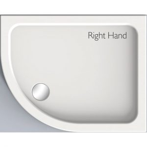 Kudos Kstone Anti-Slip Offset Quadrant Shower Tray RH 900mm X 800mm High Gloss