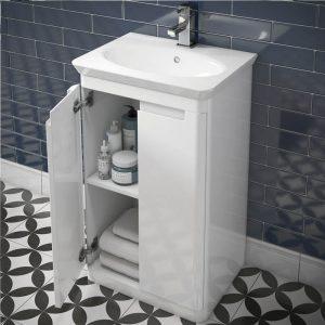 Hib Camber Floor Standing Vanity Unit – 594mm x 815mm – White