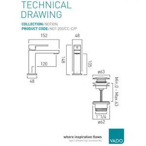 Vado Notion Slim line Mono Basin Mixer Tap With Universal Waste Chrome