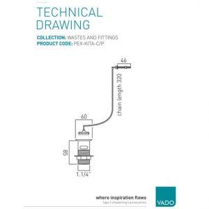 Vado Basin Waste Metal Plug And Chain Chrome