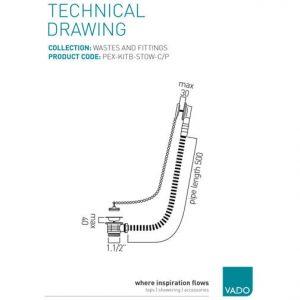 Vado Stowaway Bath Waste Metal Plug And Chain 1.1/2″ Chrome