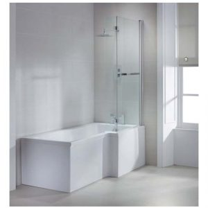 Sommer Square Shower Bath Screen With Towel Rail – 1470mm x 850mm – Chrome