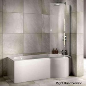Sommer Curve P-Shaped Shower Bath – 1700mm X 850-700mm – Right Hand – White
