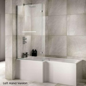 Sommer L-Shaped Shower Bath – 1700mm X 850-700mm – Left Hand – White