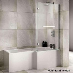 Sommer L-Shaped Shower Bath – 1700mm X 850-700mm – Right Hand – White
