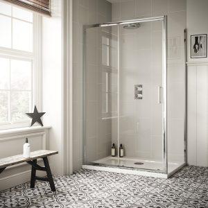 Sommer 6 Sliding Shower Door – 1900mm x 1200mm – 6mm Glass