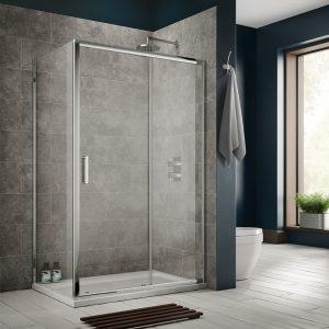 Sommer 8 Sliding Shower Door – 1900mm x 1400mm – 8mm Glass