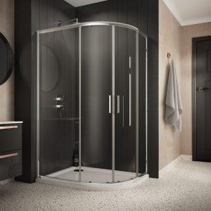 Sommer 6 Double Door Offset Quadrant Shower Enclosure – 1000mm x 800mm – 6mm Glass
