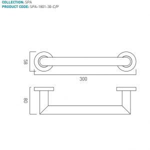 Vado Spa Grab Rail/Towel Rail 450mm Long Chrome