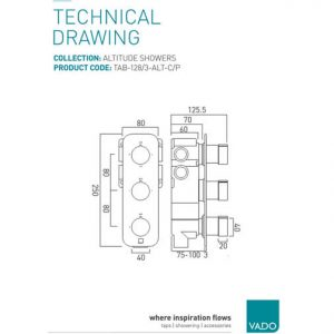 Vado Altitude 3 Outlet 3 Handle Vertical Thermostatic Shower Valve With All Flow Function Chrome
