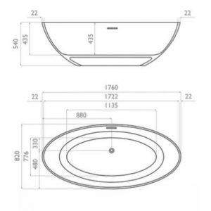 Waters Bath 1760mm – Ellipse Freestanding Bath
