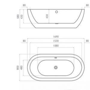 Waters Bath 1690mm – Willow Freestanding Bath