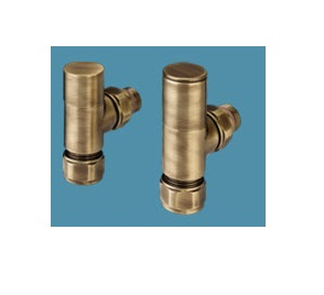 Bisque Angled Manual Radiator Valve Set D Brass