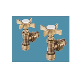 Bisque Angled Manual Radiator Valve Set RM Antique Gold