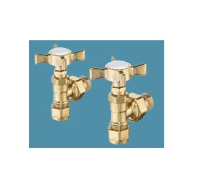 Bisque Angled Manual Radiator Valve Set RM Polished Brass