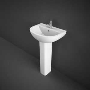 RAK Compact Cloakroom Basin with Full pedestal – 450mm Wide – 1 Tap Hole | COM45BAS1-COMPEDS