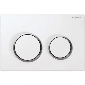 Geberit Kappa21 Dual Flush Plate – White/Gloss Chrome Plated