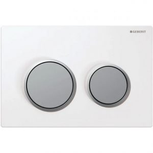 Geberit Kappa21 Dual Flush Plate – White/Matt Chrome Plated