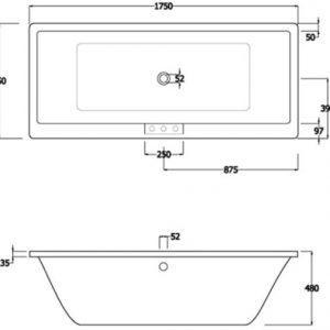 RAK Evolution Double Ended Easyflow Acrylic Bath 1750mm x 750mm