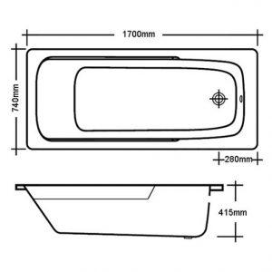RAK Orient 1700 x 750mm Single Ended Easyflow Acrylic Bath
