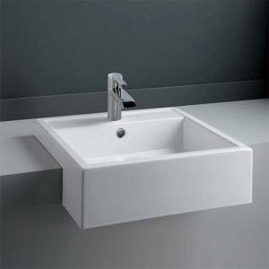 RAK Nova 46cm Semi Recessed Wash Basin 1th