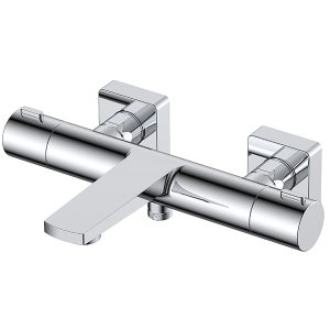 RAK Blade Wall Mounted Exposed Thermostatic Bath Shower Mixer Tap – Chrome