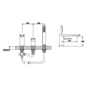 RAK Blade Bath Shower Mixer Tap – 3 Tap Hole – Chrome