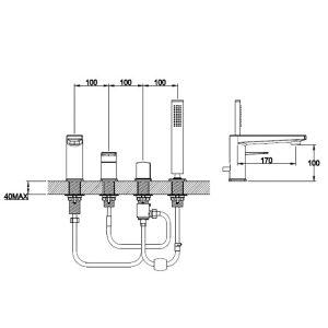 RAK Blade Bath Shower Mixer Tap – 4 Tap Hole – Chrome