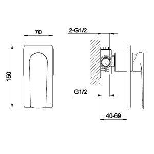 RAK Blade Single Outlet Concealed Shower Valve – Chrome