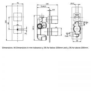 RAK Feeling Square Single Outlet Thermostatic Concealed Shower Valve – Black