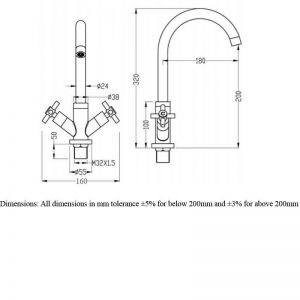RAK Kitchen Sink Mixer Tap Cross Head – Chrome