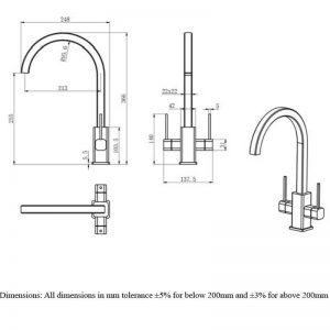 RAK Kitchen Sink Mixer Tap Modern Twin Lever – Chrome