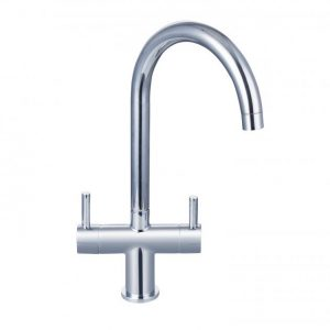 RAK Berlin Contemporary Cruciform Kitchen Sink Mixer Tap Dual Handle – Chrome