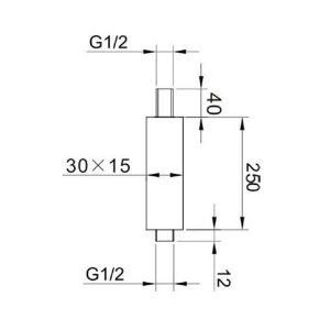 RAK Ceiling Mounting Rectangular Arm – 250mm High – Black