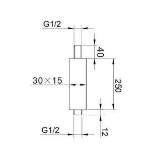 RAK Ceiling Mounting Rectangular Arm – 250mm High – Chrome