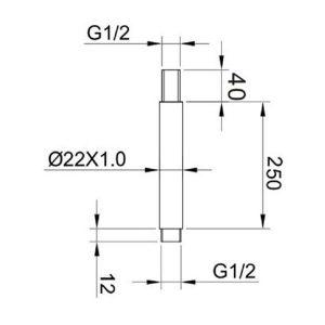 RAK Ceiling Mounting Round Arm – 250mm High – Chrome