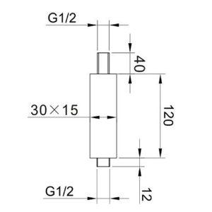 RAK Ceiling Mounting Square Arm – 120mm High – Black