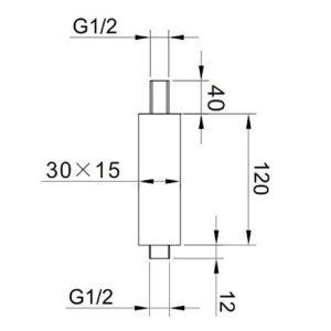 RAK Ceiling Mounting Square Arm – 120mm High – Chrome