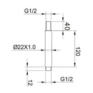 RAK Ceiling Mounting Round Arm – 120mm High – Chrome
